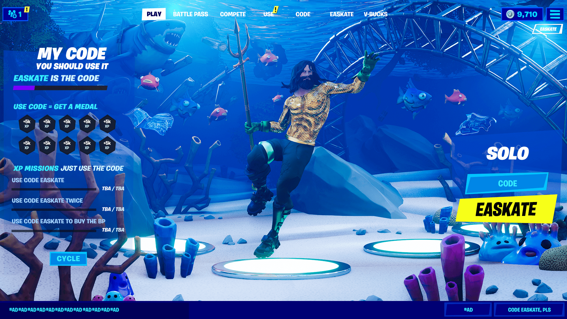 Fortnite Aquaman and lobby concept art by EASkate.