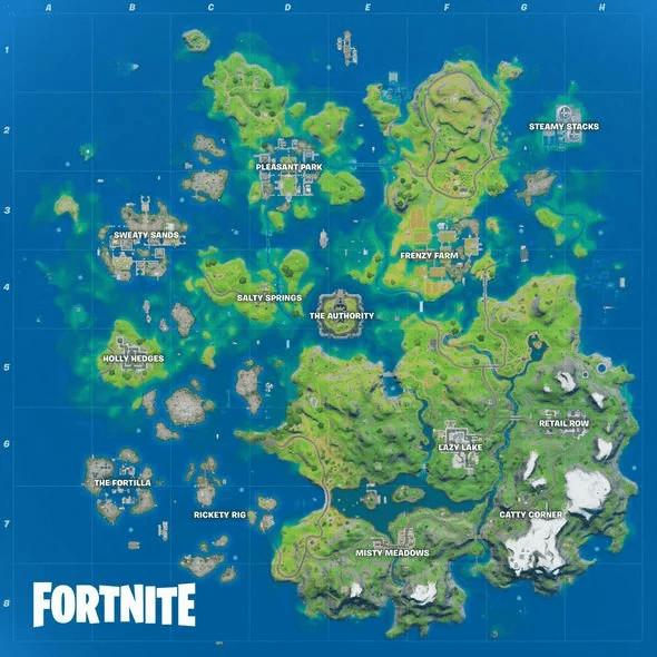 Fortnite Chapter 2 Season 3 new map courtesy of dataminer Lucas7yoshi.