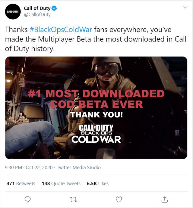 Black Ops Cold War Most Downloaded Beta