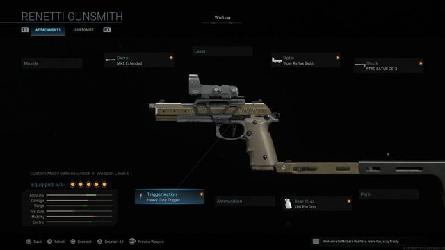 Modern Warfare Renetti pistol setup guide