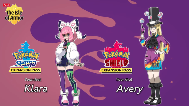 pokemon sword and shield isle of armor rivals klara and avery
