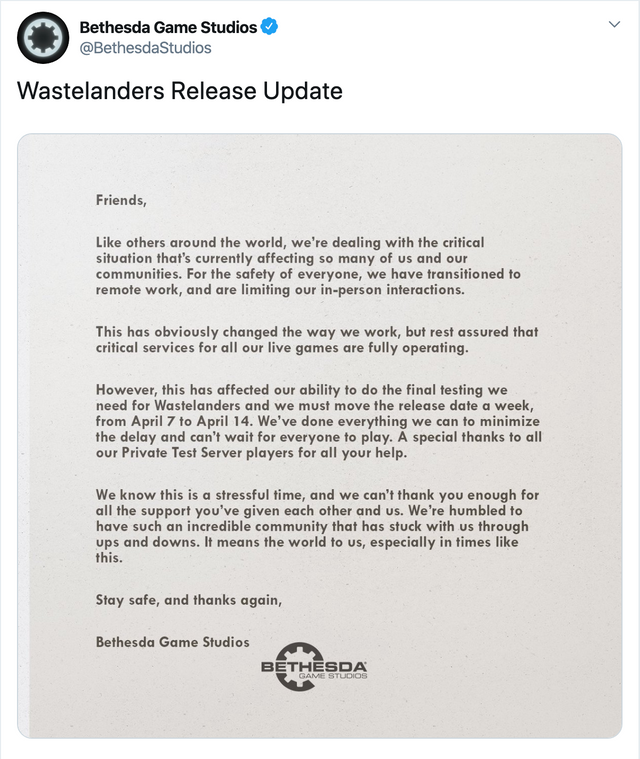 Bethesda's full statement